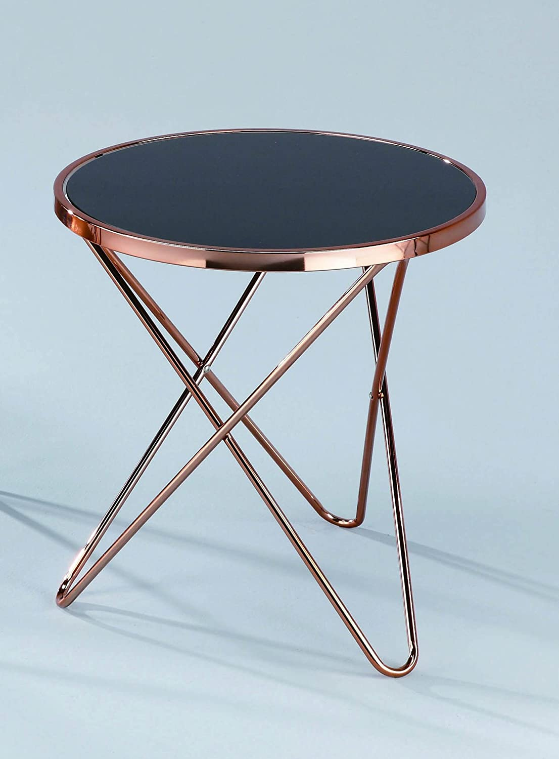 Merveilleux ASPECT Porto Round Side/Coffee/End/Lamp Table, Metal, Copper/Black