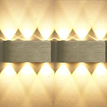 ETiME 2er 6W LED Wandleuchte Innen Modern Up Down Wandlampe Aus Aluminium Für  Wohnzimmer Schlafzimmer Treppenhaus