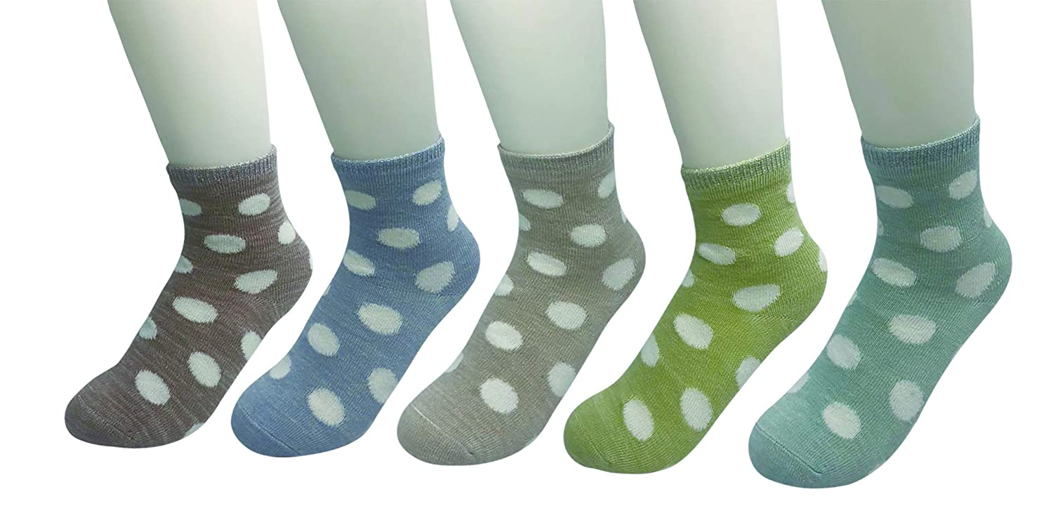 Honanda Girls Cute Dot Candy Color 5 Pack Wave Point Socks Cotton Tube Socks