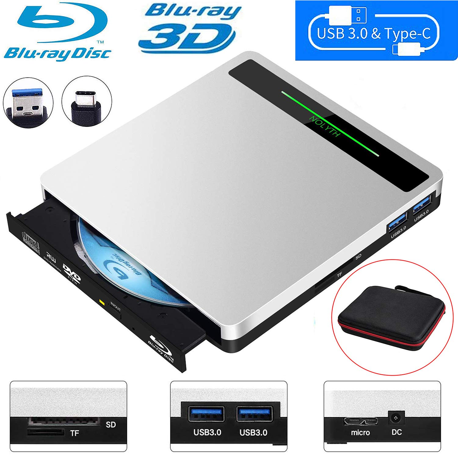 NOLYTH External Bluray Drive 5-in-1 External Blu Ray Drive USB3.0 Bluray Drive Player Burner for Laptop/MacBook/Windows10/PC with SD TF Card Reader/2 USB3.0 Hub/BD-ROM/R/RE by NOLYTH
