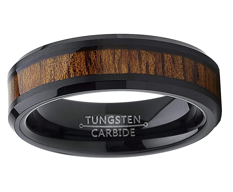 Metal Masters Co Real Koa Wood Inlay Mens Womens 6mm Size Black Tungsten Carbide Wedding Band Ring