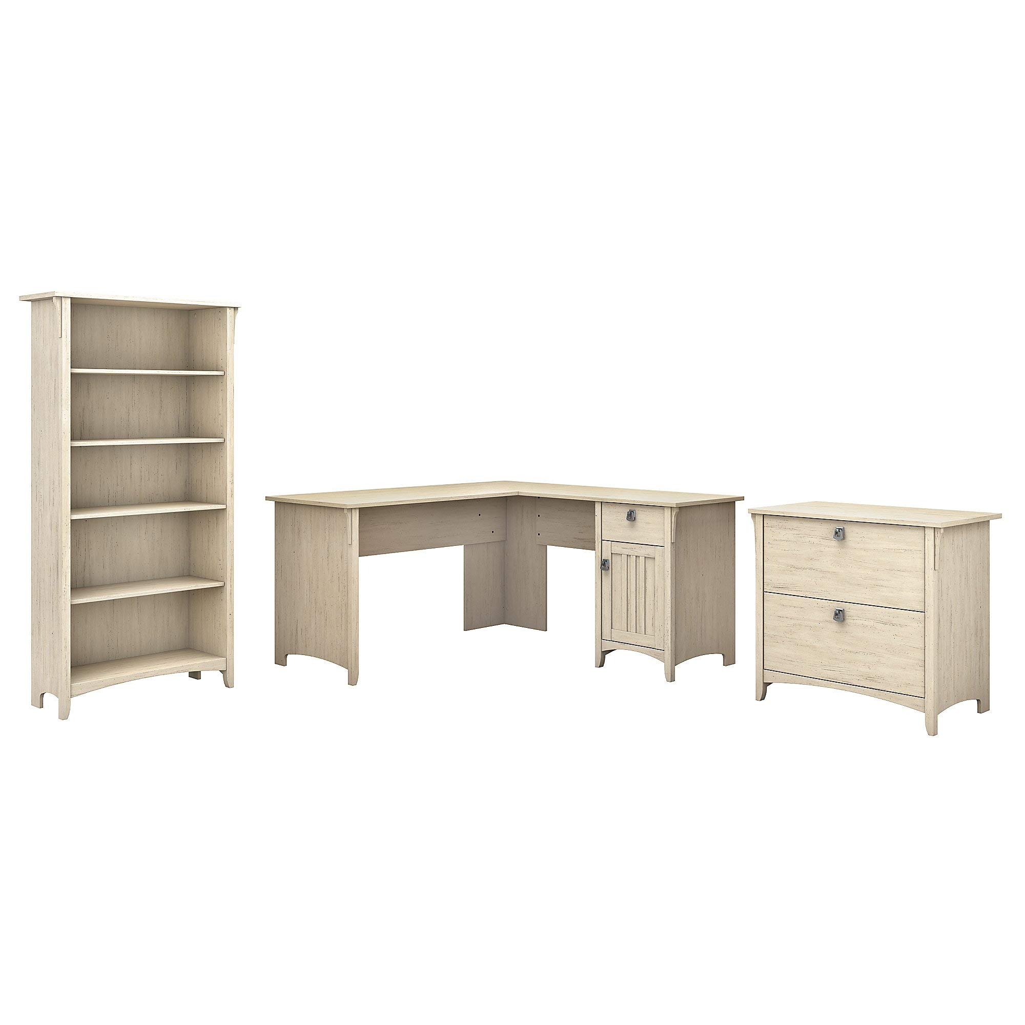 Bush Furniture Salinas 60W L Shaped Desk with Lateral File Cabinet and 5 Shelf Bookcase in Antique White by Bush Furniture