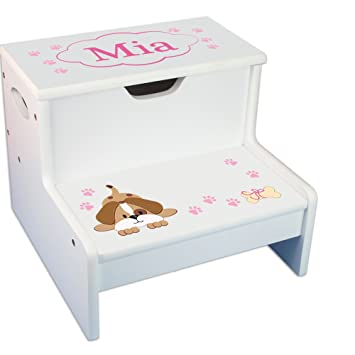 Amazon.com : Personalized Pink Puppy White Childrens Step ...