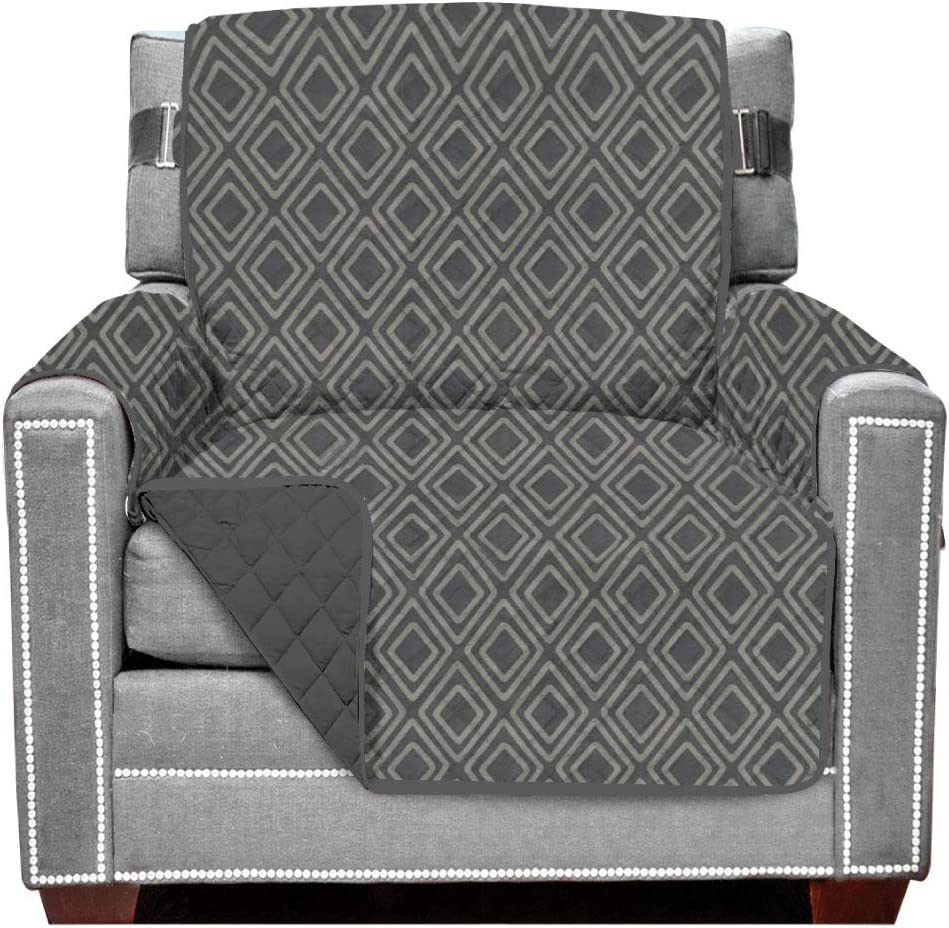 Sofa Shield Original Patent Pending Reversible Chair Protector, Many Colors, Seat Width to 48 Inch, Furniture Slipcover 2 Inch Strap, Chairs Slip Cover Throw for Pets, Dogs, Armchair, Diamond Charcoal