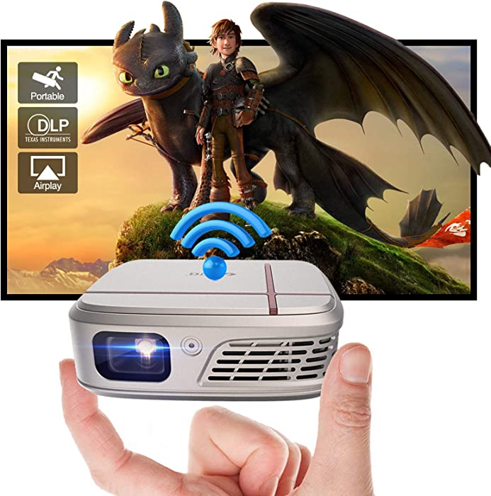 Mini WiFi Projector Pocket Cinema Projector Support Full HD Widescreen 3D Outdoor Movie with 5200mAh Battery HiFi Speaker,Portable DLP HDMI Projector for Home Theater Gaming Android Smart Phone
