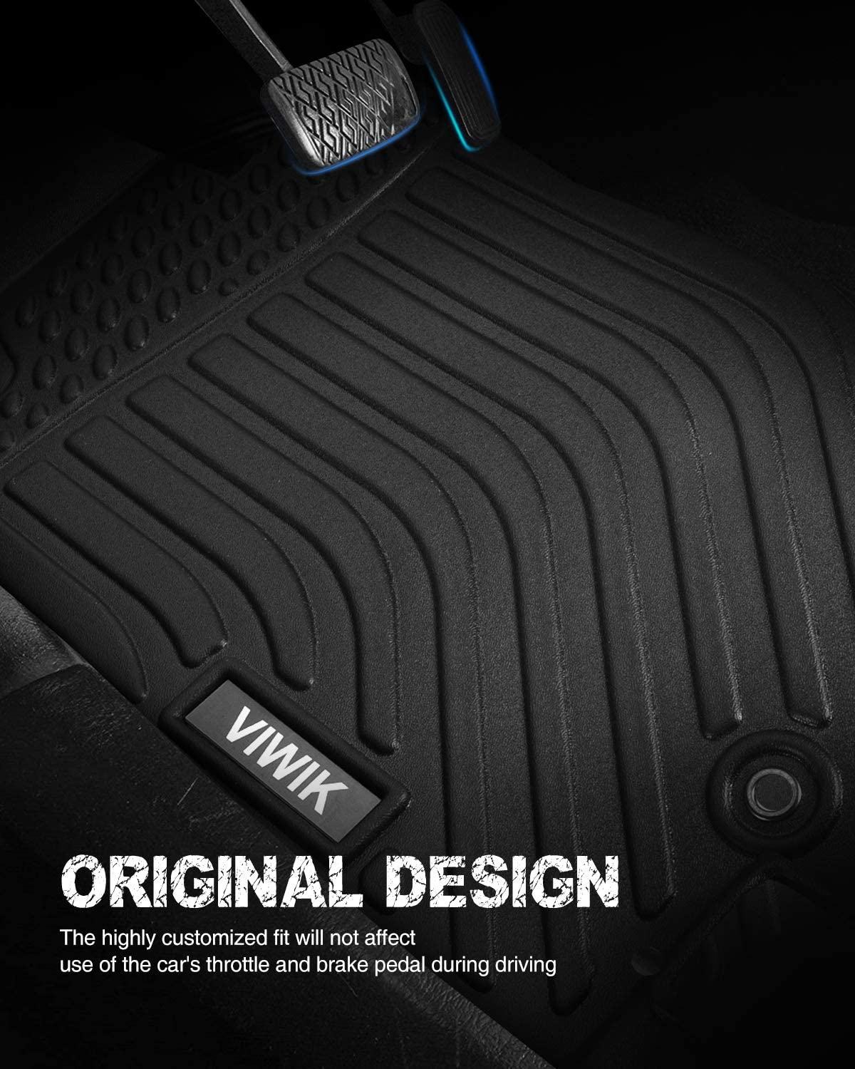 VIWIK Floor Mats for 2014-2020 Nissan Rogue Durable and Eco-Friendly TPE Front and Rear Floor Liner Set for Nissan Rogue 100/% Safe Tough