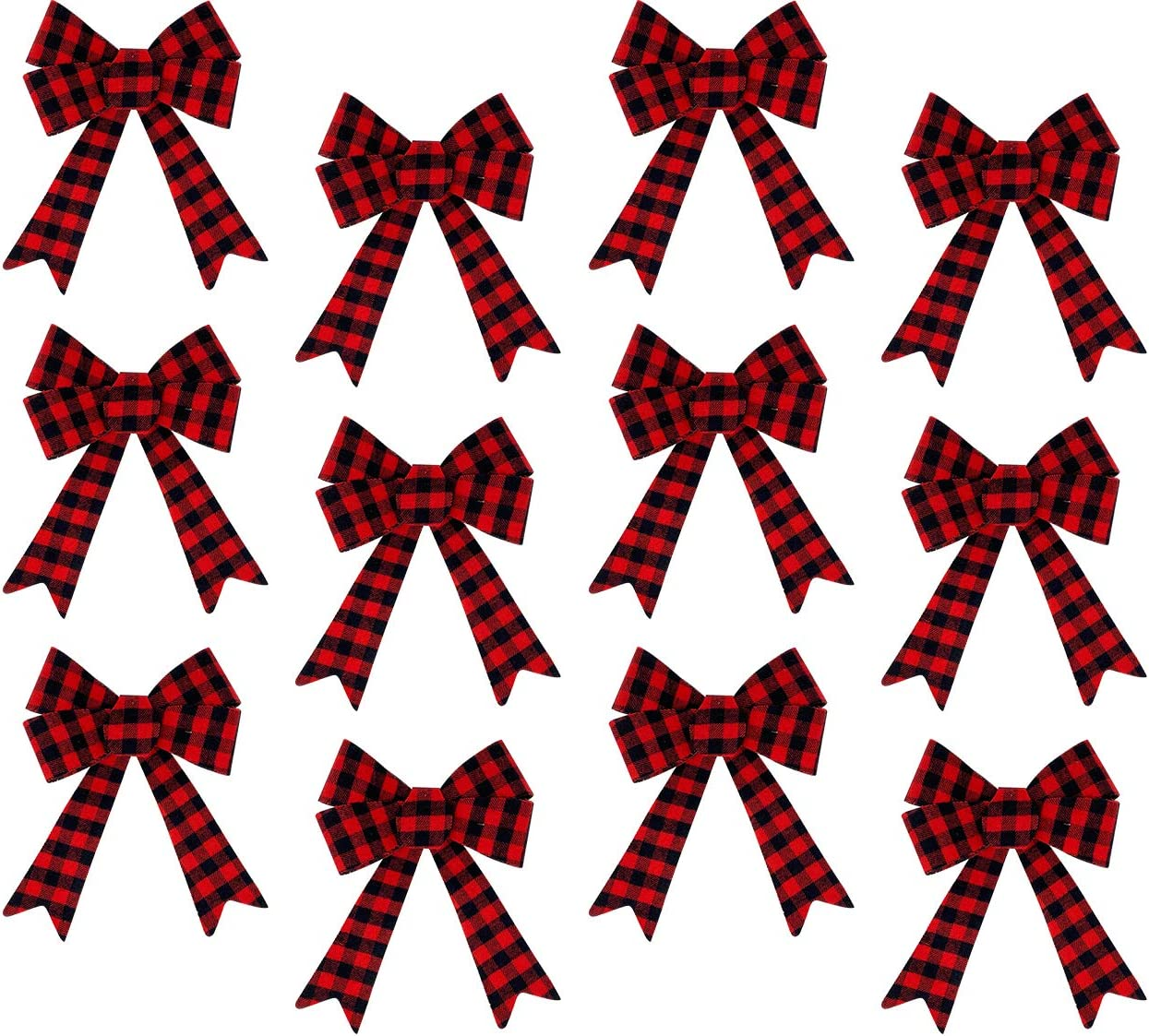 Celebrate A Holiday Red Buffalo Plaid Bows 5x7 Inch, Set of 12 - Plaid Christmas Decorations - Great for Christmas Garland - Buffalo Check Ribbons - Ideal Christmas Tree Bows For Indoor or Outdoor Use