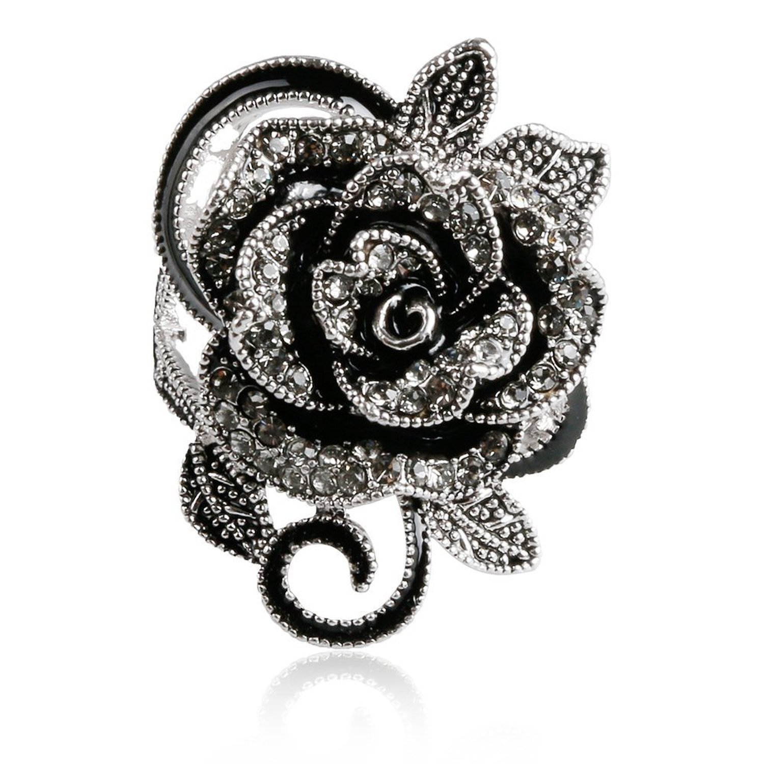 Blowin Newest Womens Ladies Gothic Vintage Stainless Steel Big Rose Flower Band Ring (6.5)