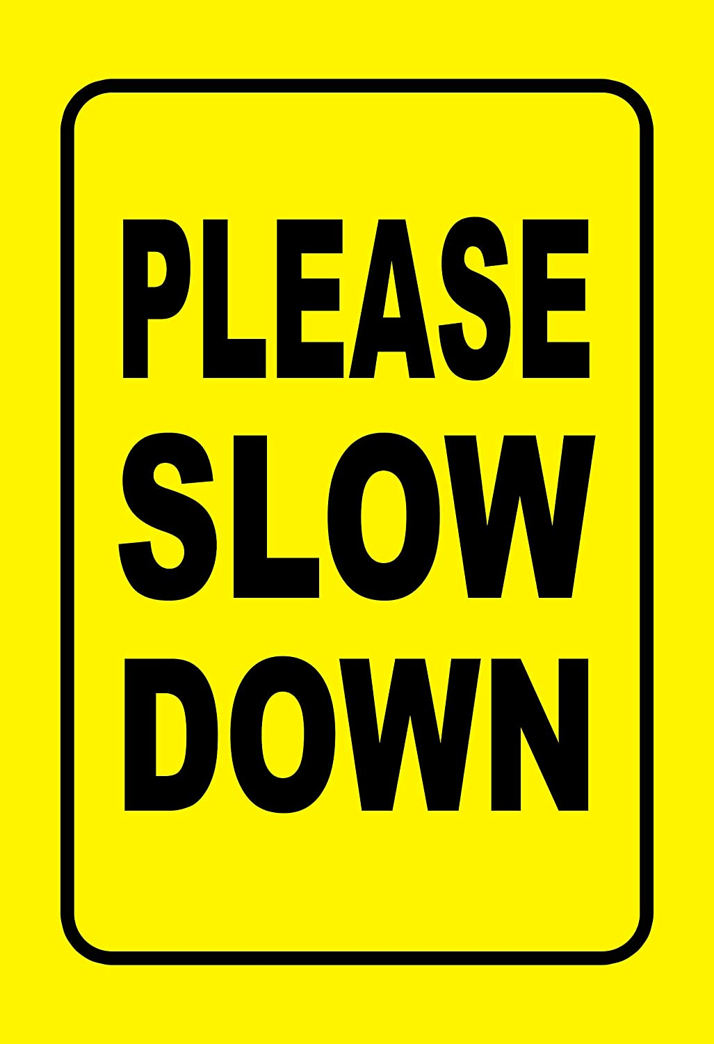 Double Sided Please Slow Down Sign Reflective Aluminum Metal Sign with Stakes,