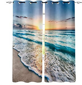 Window Treatments Curtains Room Window Panel Set for Living/Dining/Bedroom, Ocean Theme Sand Beach Wave Sea Water Pattern 27.5 by 39 Inch, 2 Panels