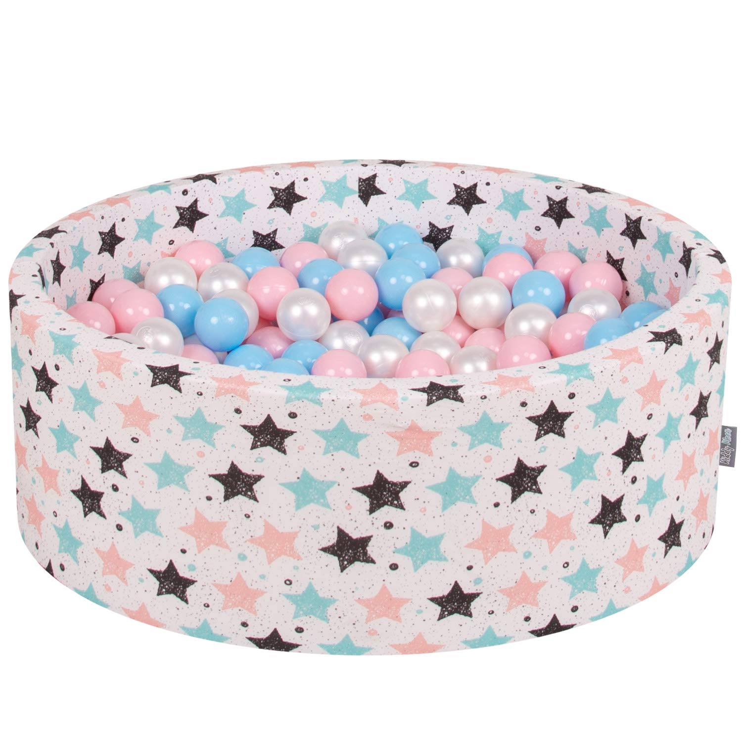 Light Beige baby bluee Light Pink Pearl 90x30cm 300 balls KiddyMoon 90X30cm 200 Balls ∅ 7Cm   2.75In Baby Foam Ball Pit Certified Made In EU, Grey Stars  Light Pink Pearl Transparent