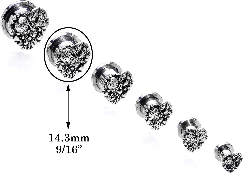 Body Candy Steel Ladybug Heart Screw Fit Tunnel Plug Set of 2 9//16