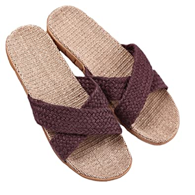 1b9bb670ab9578 KUIBU Premium Skid-Proof Flax House Slipper Indoor Lightweight Hemp Slippers  Slide Scuff Sandals