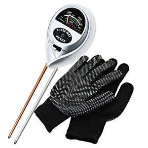 3-in-1 Soil pH, Moisture & Light Meter Tester Probe Sensor, Gardening Plants Growth Watering Quality Monitoring Acidity Test Tool Kits for Garden Farm Lawn Household Indoor Outdoor with Free Gloves