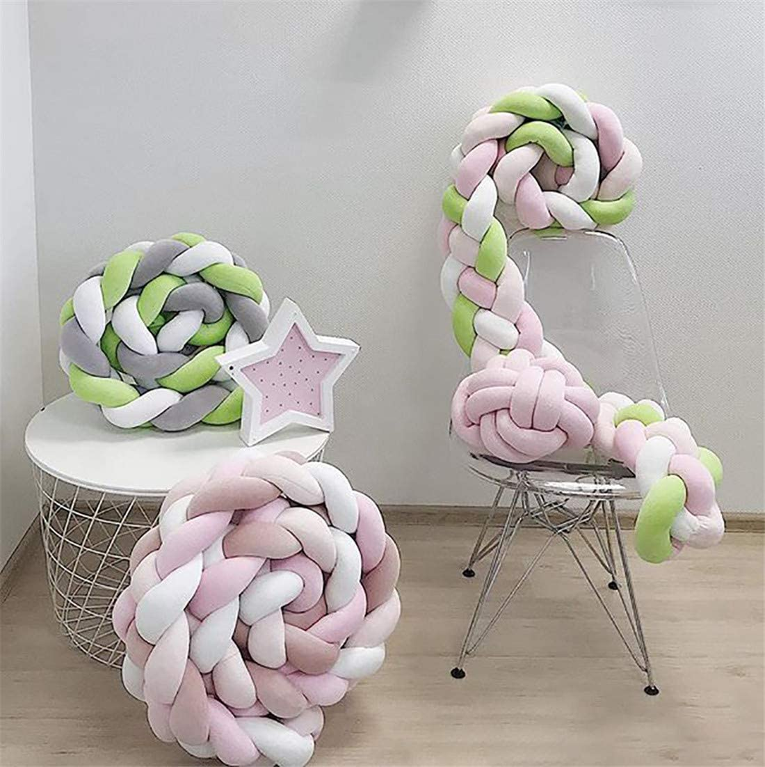 Blanc + Poudre + Rose Clair,300cm XZYB Tour de Lit 2m//3m B/éb/é Coussin Serpent Coussin Tress/é Pare-Chocs Velours B/éb/é Protection Chambre D/écor