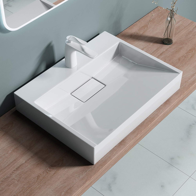 Sogood: Lavabo sobre encimera blanco de diseño Colossum 19, 50 cm de Ancho | Lavabo con orificio para grifo.: Amazon.es: Bricolaje y herramientas