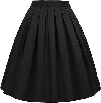 GRACE KARIN Women's Retro Pleated Cotton Skirt A-Line Skirt CL010401