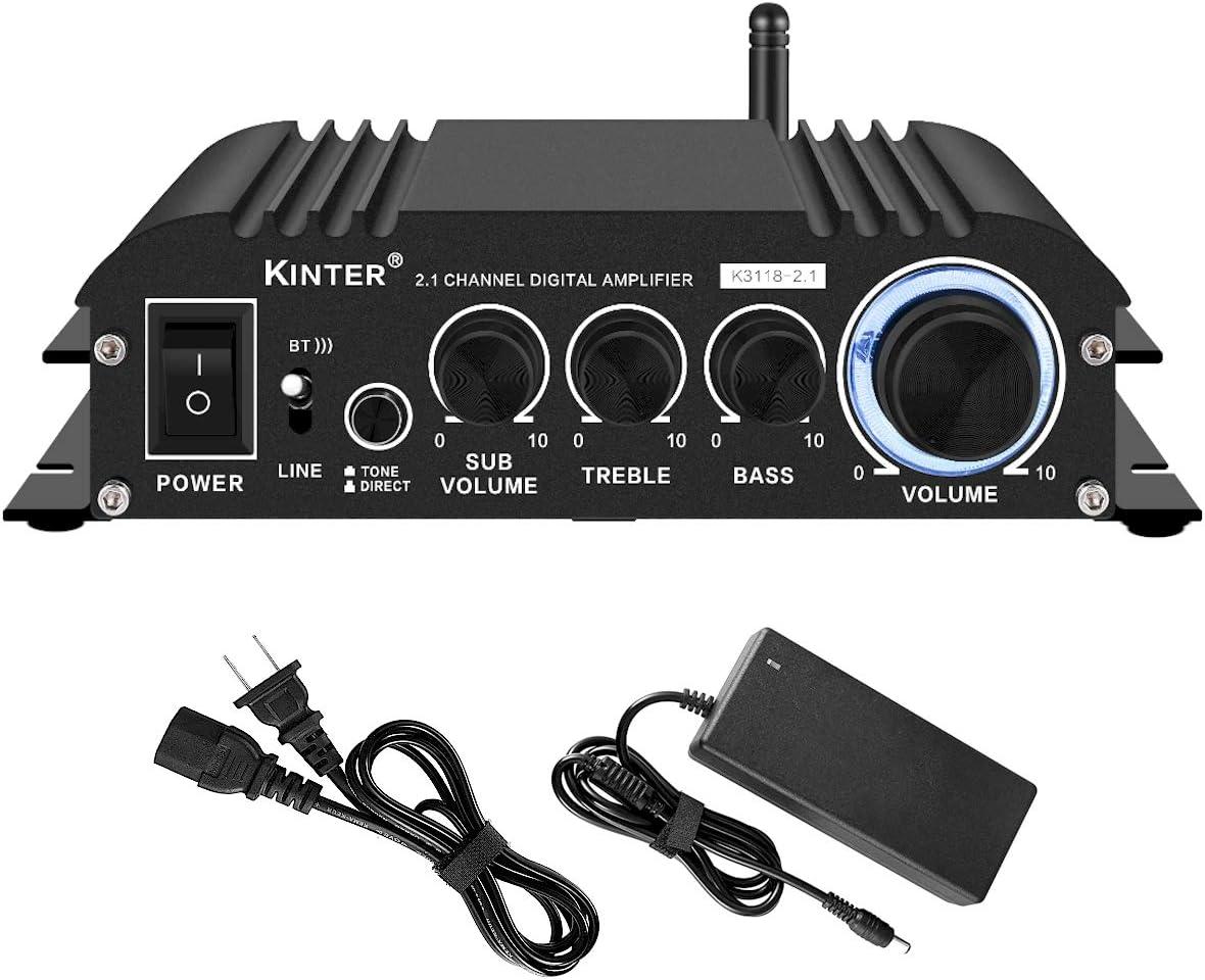 Kinter K3118-2.1 Bluetooth 5.0 Stereo Digital Receiver Amplifier 2.1 Channel Mini Hi-Fi Class D Amp 30 Watt x 2 Channels + 80 Watt Subwoofer for Home TV DIY Auto Outdoor Passive Speakers Subwoofer