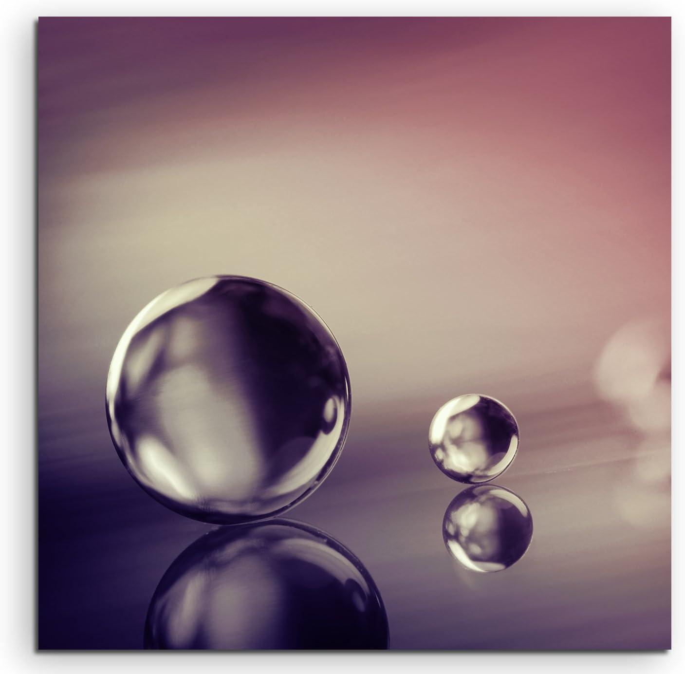 60x60cm Wandbild Fotoleinwand Bild in Mauve Dekoration Makro-Bild Ball Marmor