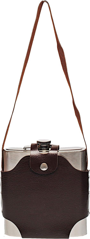 Name unterwegs.. XXL Trinkflasche inkl Edelstahl 1 Liter // 1000 ml Flasche Flachmann mit abnehmbaren Halter auslaufsicher Lederetui Umh/ängeband