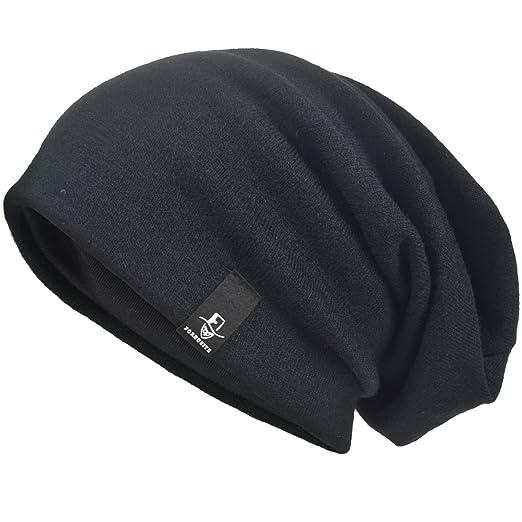e5d2b8e3799 VECRY Men s Oversize Slouch Beanie Slouchy Skullcap Large Baggy Hat (Black -1)