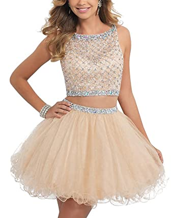 BEAUTBRIDE Womens Beading Tulle Homecoming Short Prom Dress Two Piece Champagne 2
