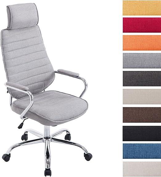 CLP Poltrona Ufficio Rako Con Poggiatesta In Stoffa E Metallo I Poltrona Direzionale Regolabile 46 57CM, Colore:grigio chiaro