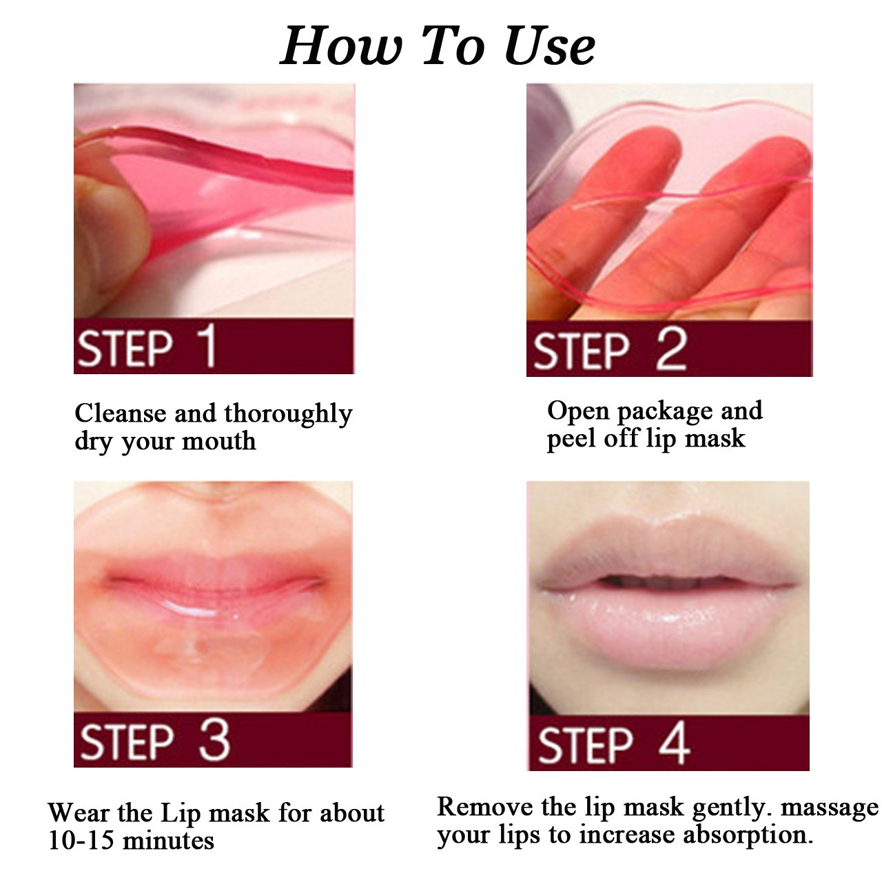 CCbeauty 20-Pack Pink Collagen Crystal Lip Mask Lip Plumper Mask Gel Care Mask Moisturer Essence Make Your Lip Attractive and Sexy by CCbeauty (Image #3)