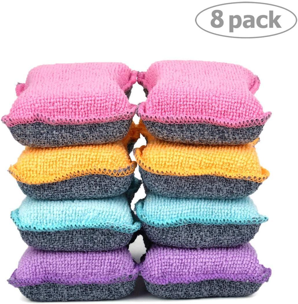 UPSTAR Microfiber Scrubber Sponge, Non-Scratch Kitchen Scrubbies, Dishwashing and Bathroom Sponges, Size.S Pack of 8
