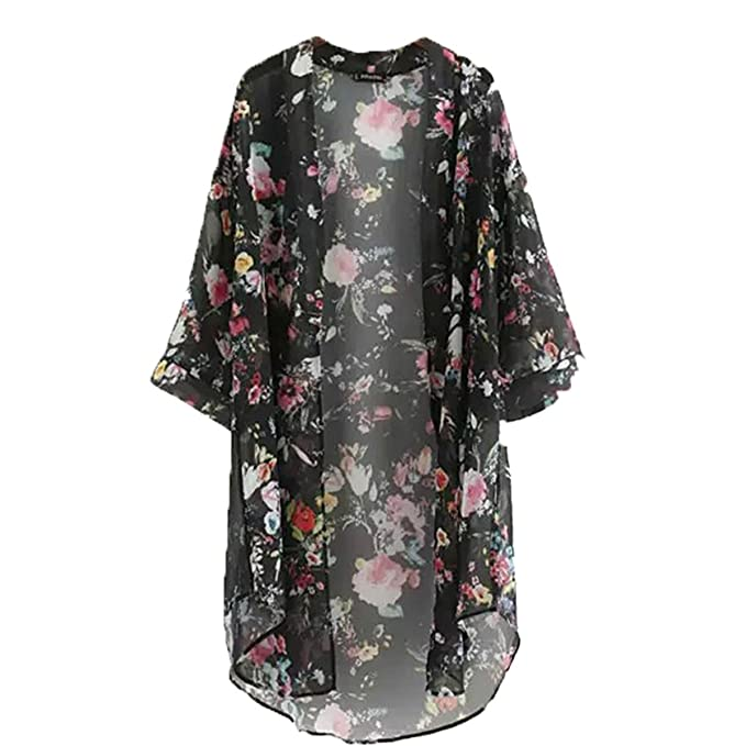 DJS Blusa Bohemia Quimono Camisa Larga Mujer 2018 Camisas Impresas Floral Casual Blusas Femininas Blusas Cárdigan Kimono Vintage Más Talla: Amazon.es: Ropa ...