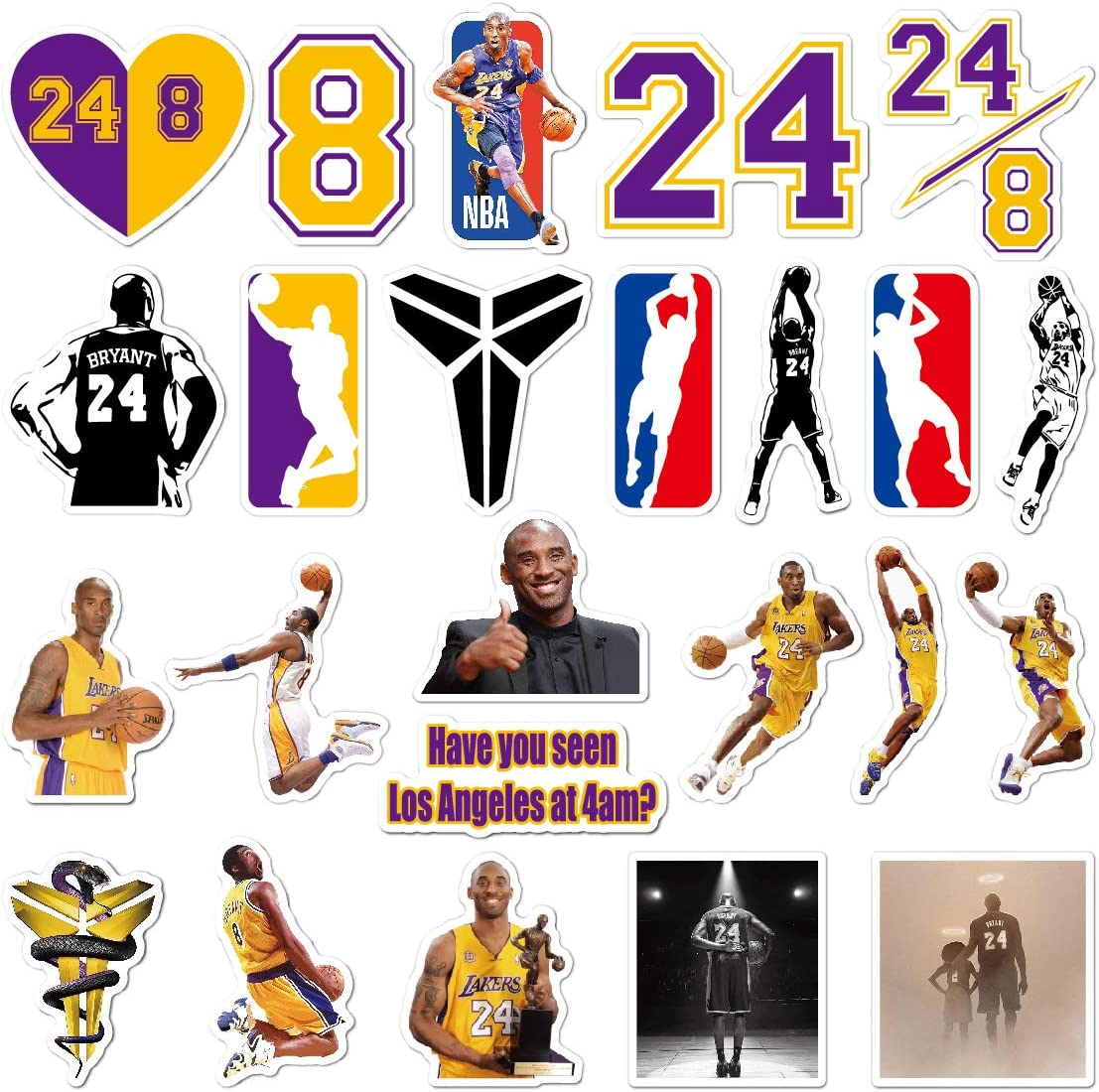 YKHEN Stickers for Hydro Flask, Vinyl Waterproof Kobe Bryant Water Bottle Stickers for Hydroflasks, Laptop, Phone, Cool Trendy Stickers for Boys Teens Mans(24pcs)