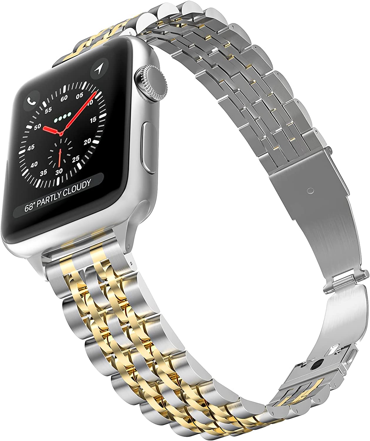 CINORS Women Band Compatible with Apple iWatch 38mm 40mm Thin Slim Ladies Replacement Stainless Steel Bands for Series 6 5 4 3 2 1 Silver and Gold
