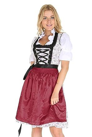 2d0cd76bbc678b Bavarian Clothes Trachtenkleid Kleid 3 Teilig mit Dirndl Dirndlbluse Schürze  Rot mit Blumen Verziert Gr: