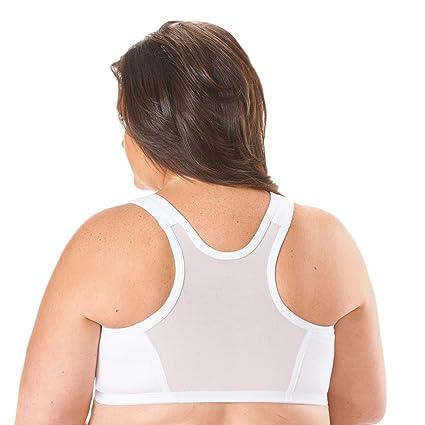 54c782c06d407 WalterDrake Women s Zip Front Closure Bra Cotton - Mesh Racerback - White  at Amazon Women s Clothing store