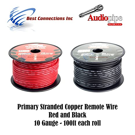 Amazon.com: 10 GAUGE WIRE RED & BLACK POWER GROUND 100 FT EACH ...