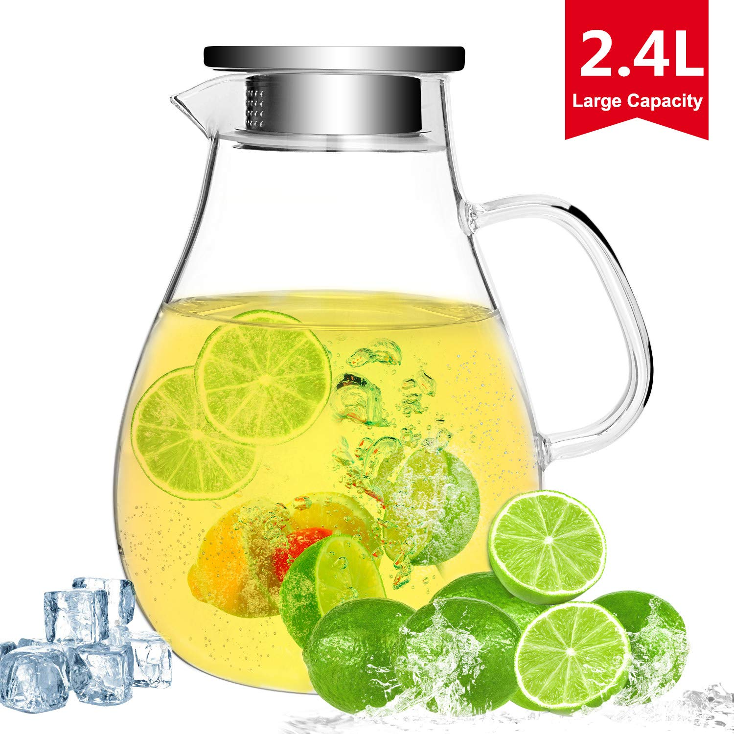 2.4 Liter Glass Water Pitcher with Lid, Large Glass Iced Tea Pitcher Jug with Handle and Spout 80 Ounces for Hot/Cold Liquid Water Safe, BPA-Free