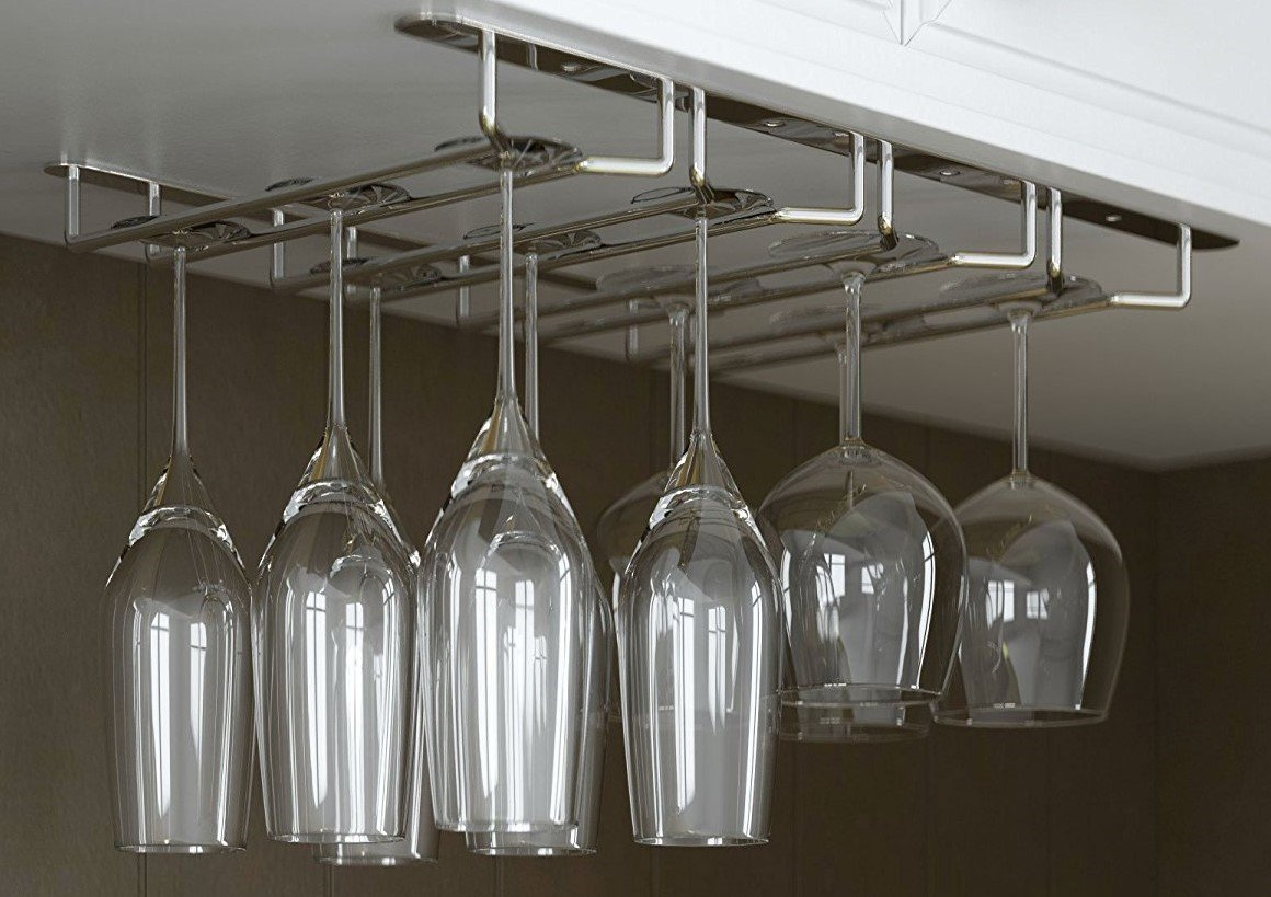 JMiles Under Cabinet Hanging Stemware Rack Hold Up To 12 Wine Glasses (Chrome)