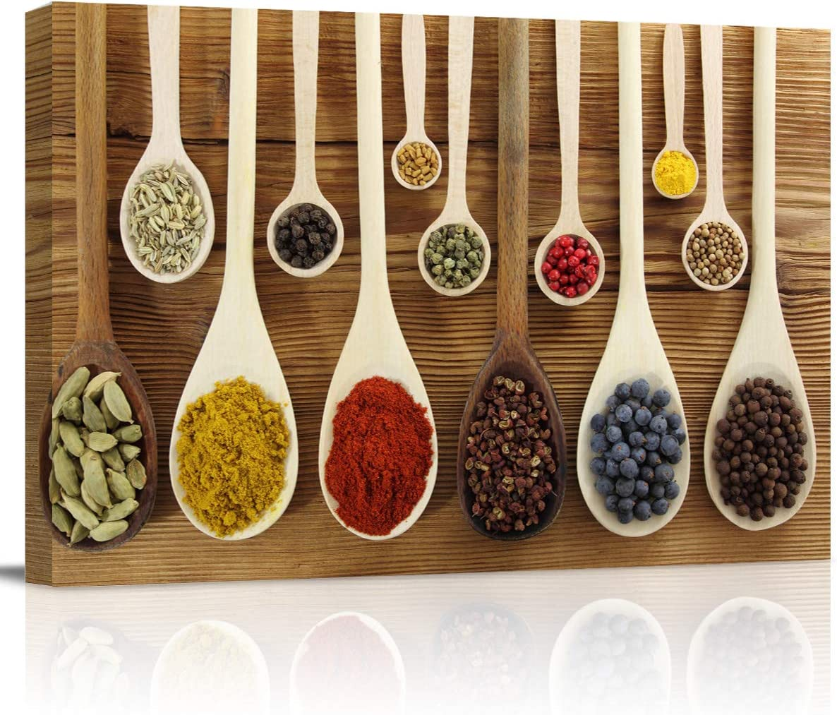 """Canvas Wall Art - Colorful Spices in Wooden Spoons Kitchen Pictures - Modern Wall Decor Gallery Canvas Wraps Giclee Print Stretched and Framed Ready to Hang - 12"""" x 16"""""""