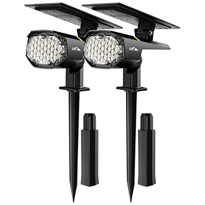 LITOM 30 LED Outdoor Solar Landscape Spotlights Pro, IP67 Waterproof Wireless Solar Powered Landscaping Wall Light for Yard Garden Driveway Porch Walkway Pool Patio Cold & Warm White Adjustable 2 Pack : Garden & Outdoor