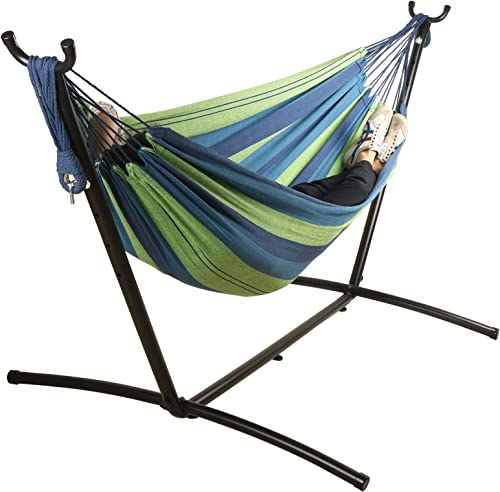 Mayhawk Hammock with Stand, 550lb Capacity Double Cotton Hammock and 9ft Steel Stand Including Portable Carrying Case, Easy Set Up Blue