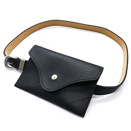 c10c2a175f9 TOPMO Women Fashion Leather Belt Purse Women Waist Belt Mini Waist Bag  Pouch Fanny Packs Cell Phone Bag With Adjustable Belt(Black)