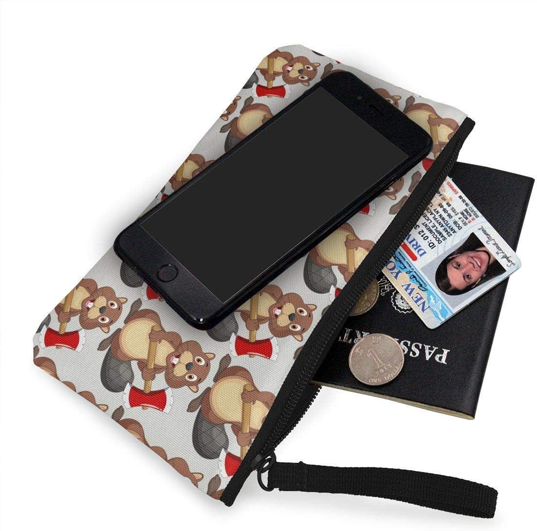 4,7 X 8,7 BHGYT Porte-Monnaie en Toile de Castor de Violence Sac pour t/él/éphone Portable avec poign/ée Porte-Monnaie Unisexe avec Bracelet Trousse de Maquillage