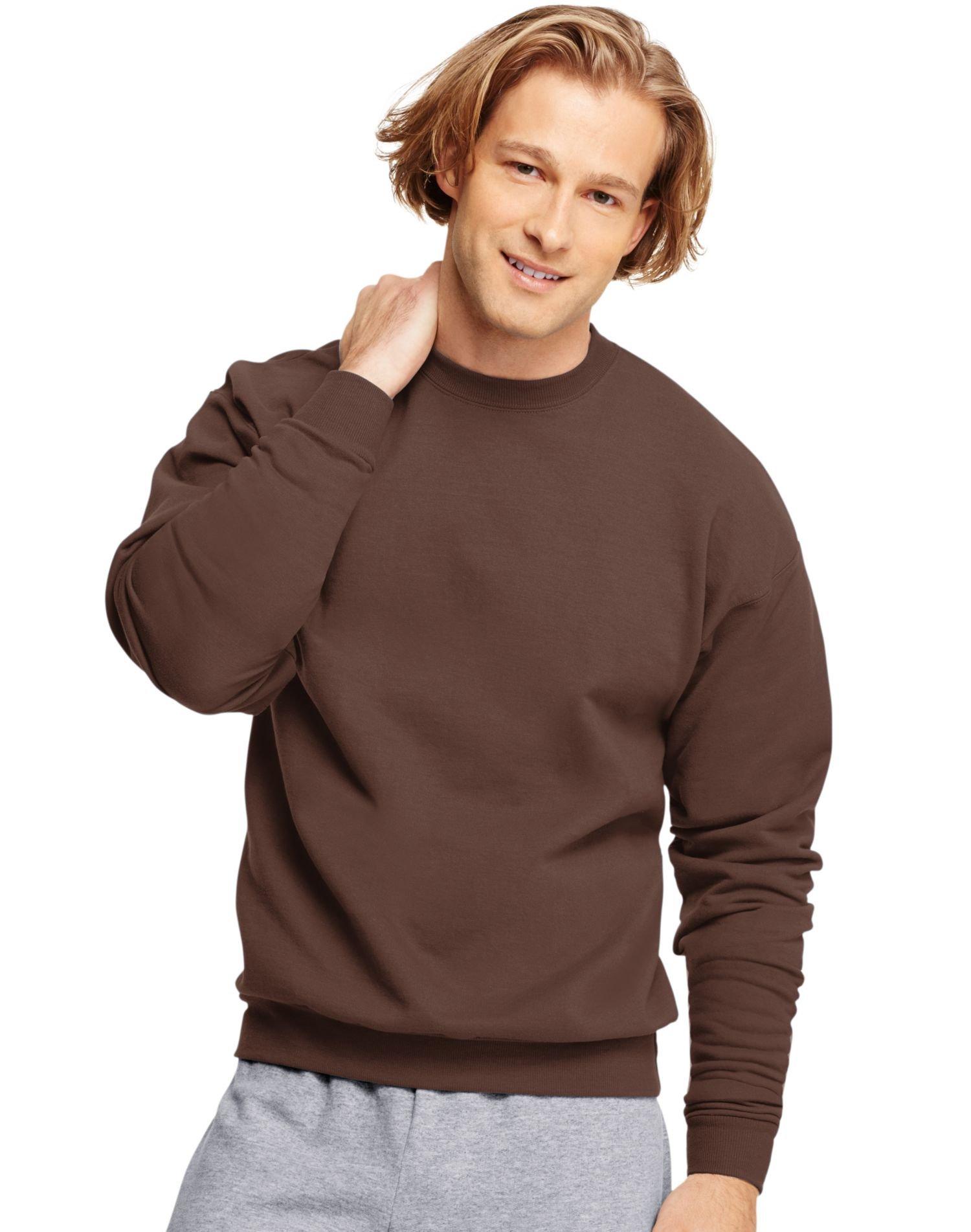 Hanes ComfortBlend EcoSmart Men`s Crew Sweatshirt Brown