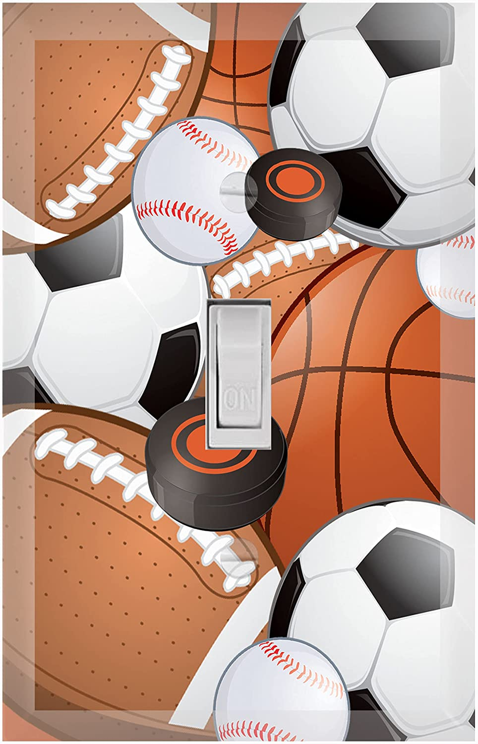 Create-A-Mural Kids Sports Decor Light Switch Cover Plate Decorative Nursery Teen Toddler Room Bedroom Bathroom Playroom DIY Wall Decoration (Sports)