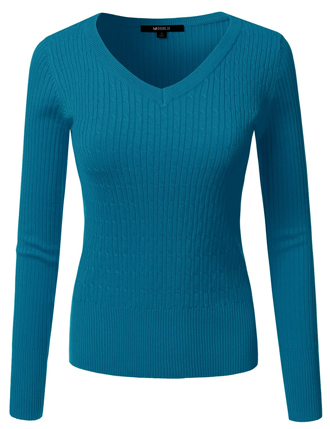 Awoswl0226_teal Doublju Slim Fit Twisted Cable Knit VNeck Sweater For Women