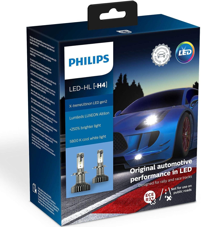 Pair of Philips X-treme Ultinon LED H4 headlight bulbs 250/% more light