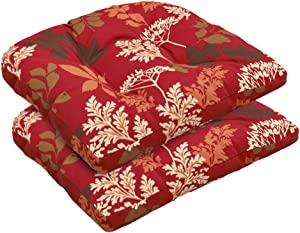 Bossima Indoor/Outdoor Wicker Seat Cushion, Set of 2,Spring/Summer Seasonal Replacement Cushions (Red/Brown Floral)