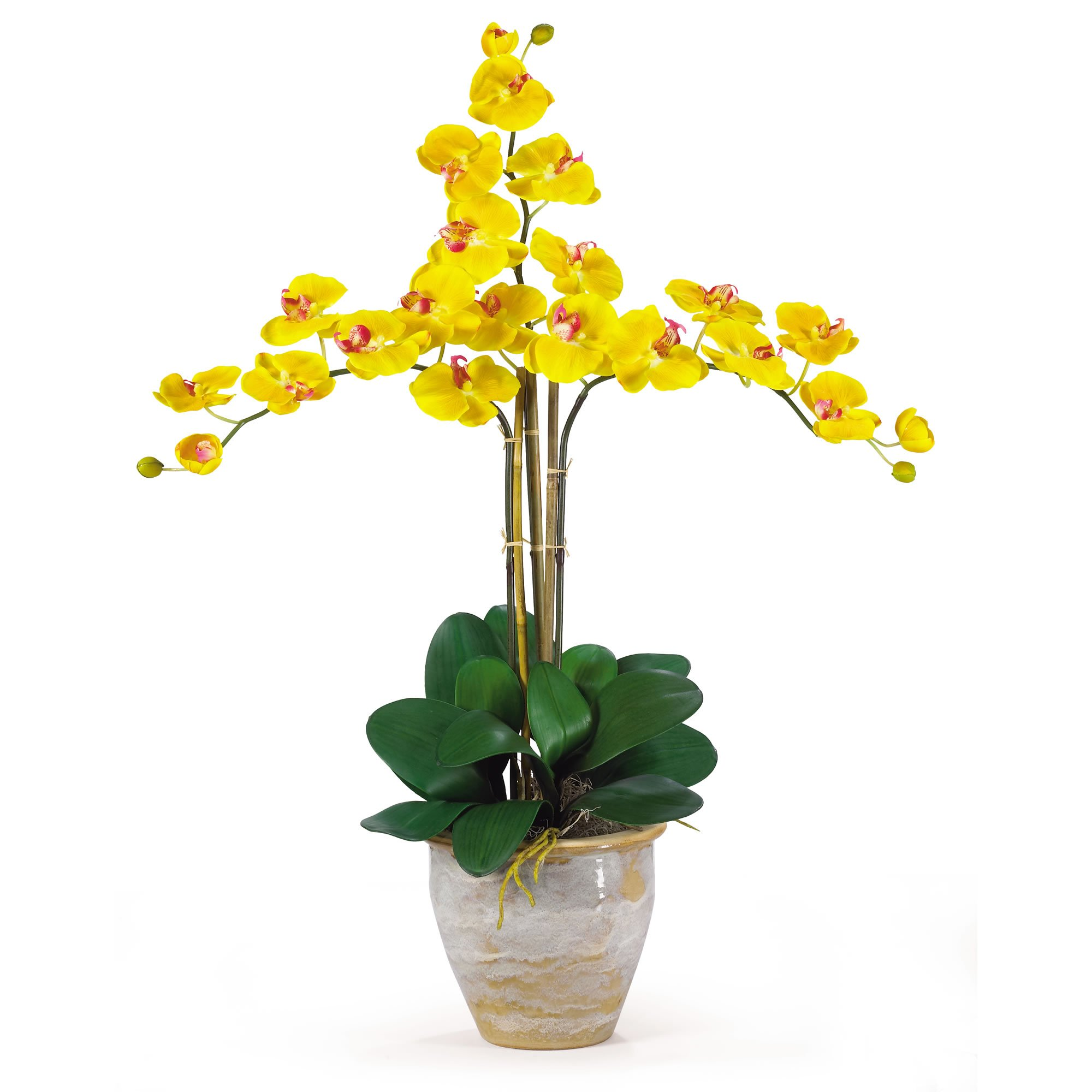 SKB Family Triple Stem Phalaenopsis Silk Orchid Arrangement Gold Yellow Floral Home Decor