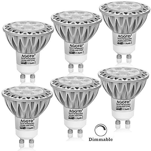 AGOTD Bombillas LED Gu10 7w, Lampara de Led, Blanco Cálido 2700K, LED de luz Cálido 560Lm, Lampara halogenos Equivalentes a 50 Watt, casquillos led gu ...