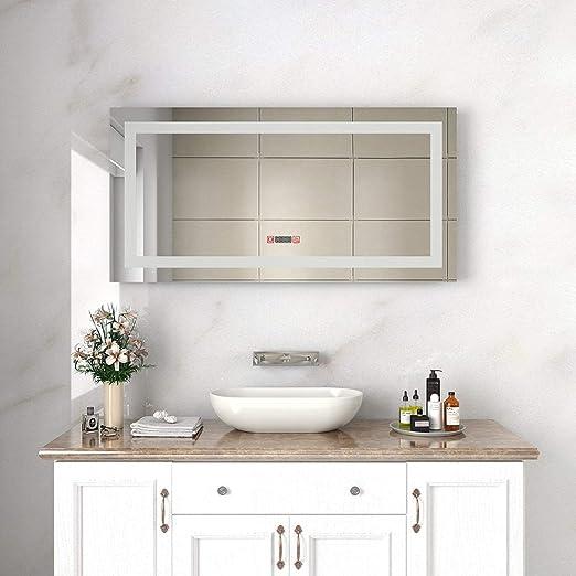 "SUNNY SHOWER 19/""W x 27/""H LED Light Illuminated Bathroom Mirror Antifog Touch US"
